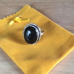 .925 Sterling Silver Black Onyx Ring Size 9